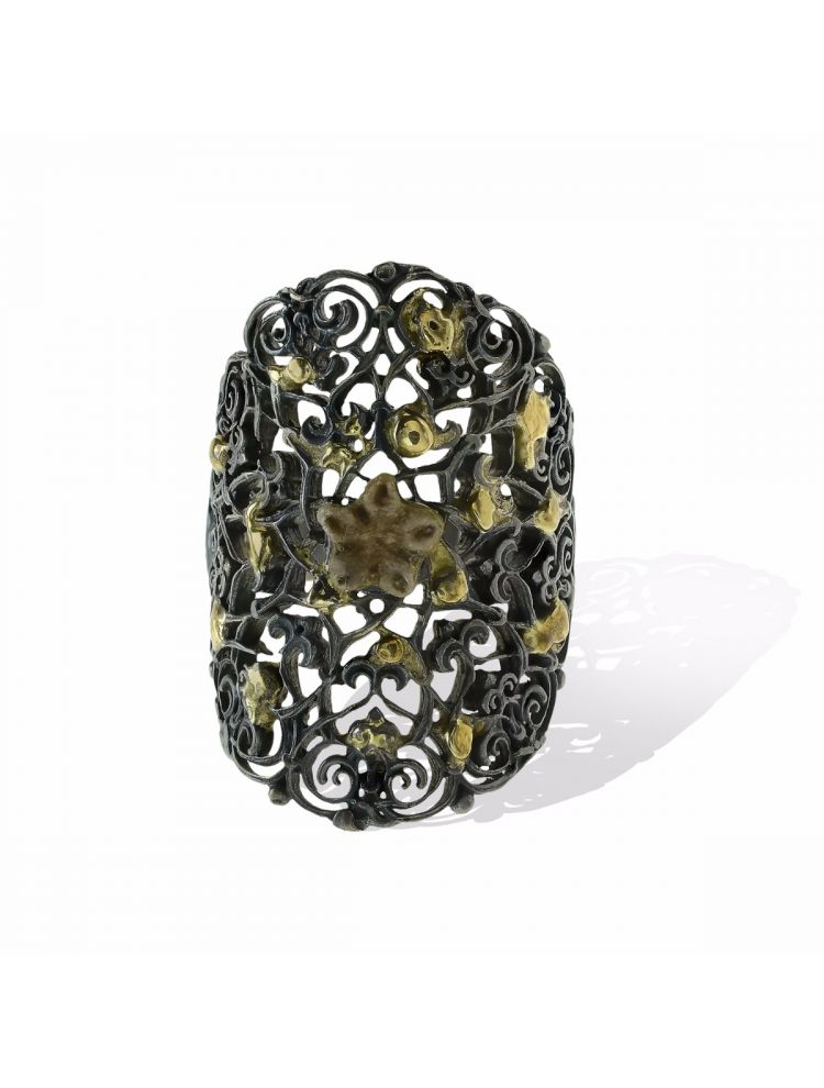 Anna Avakian black silver ring with gold and star stone