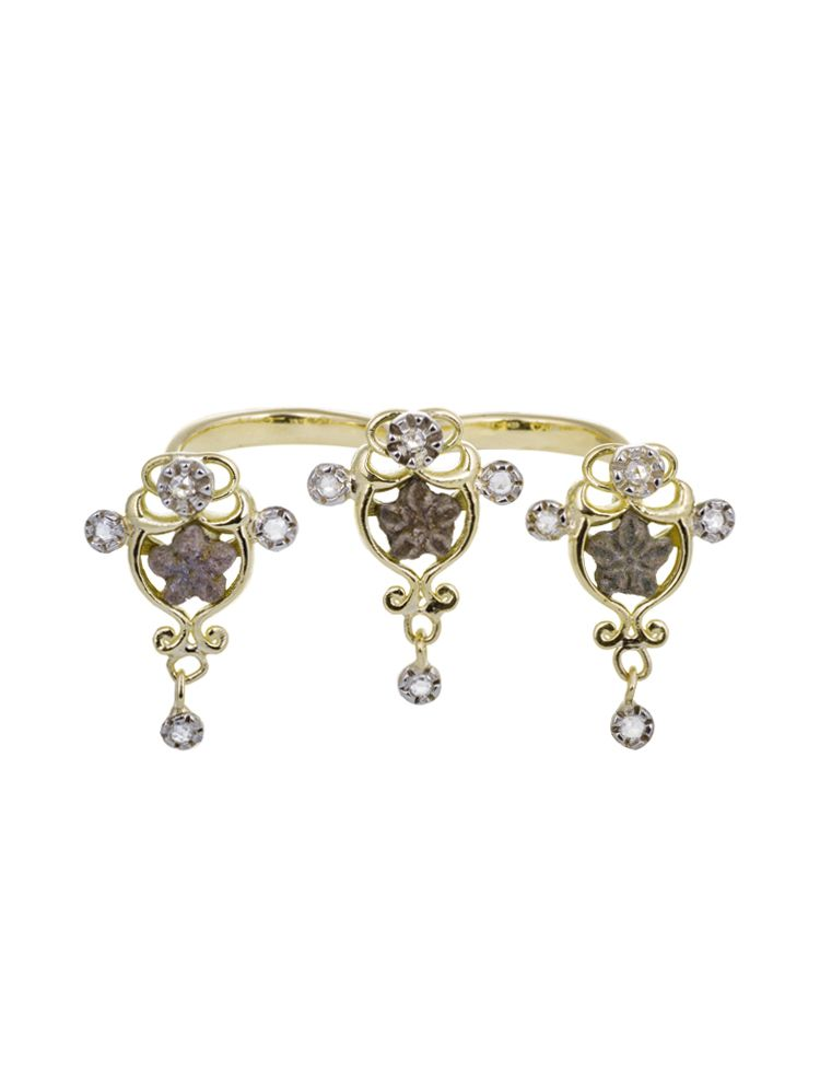 Anna Avakian gold double ring with pentacrinus