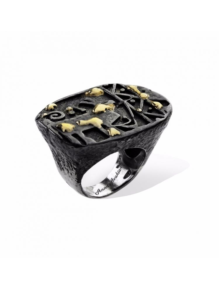 Anna Avakian silver ring with yellow gold
