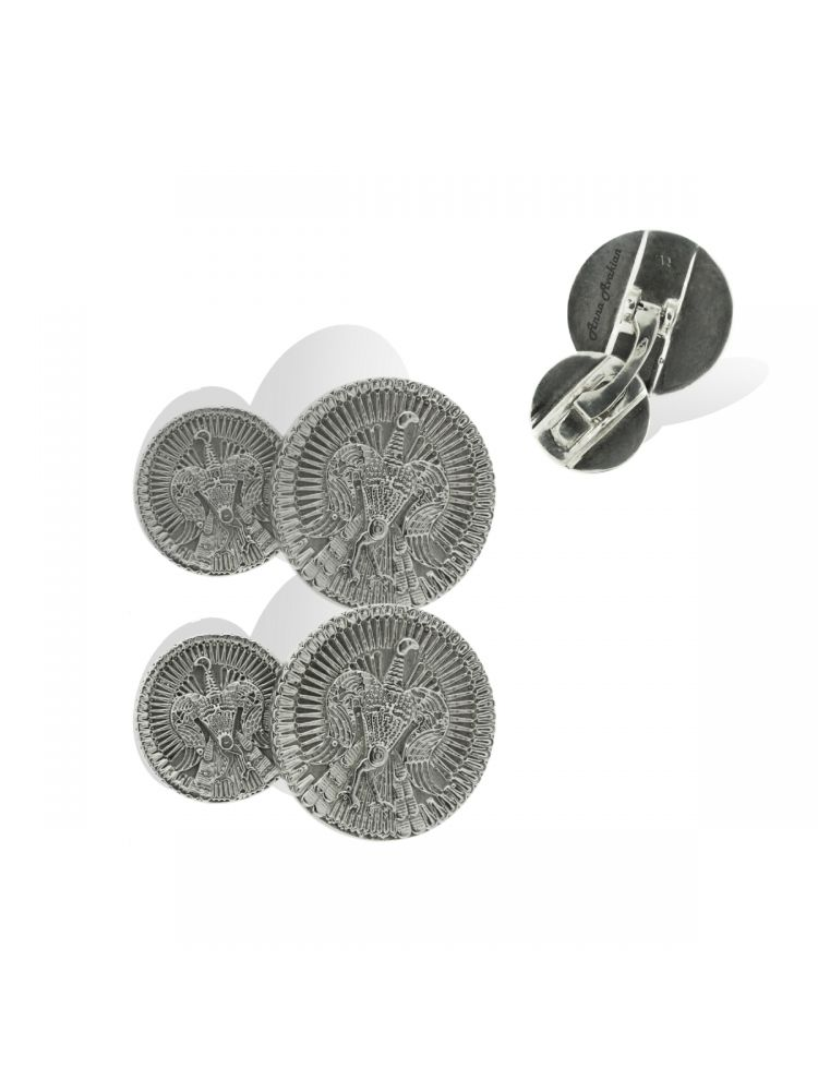 Anna Avakian white gold round-shape cufflinks