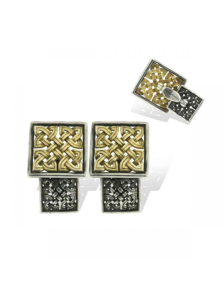 Anna Avakian yellow gold and silver cufflinks