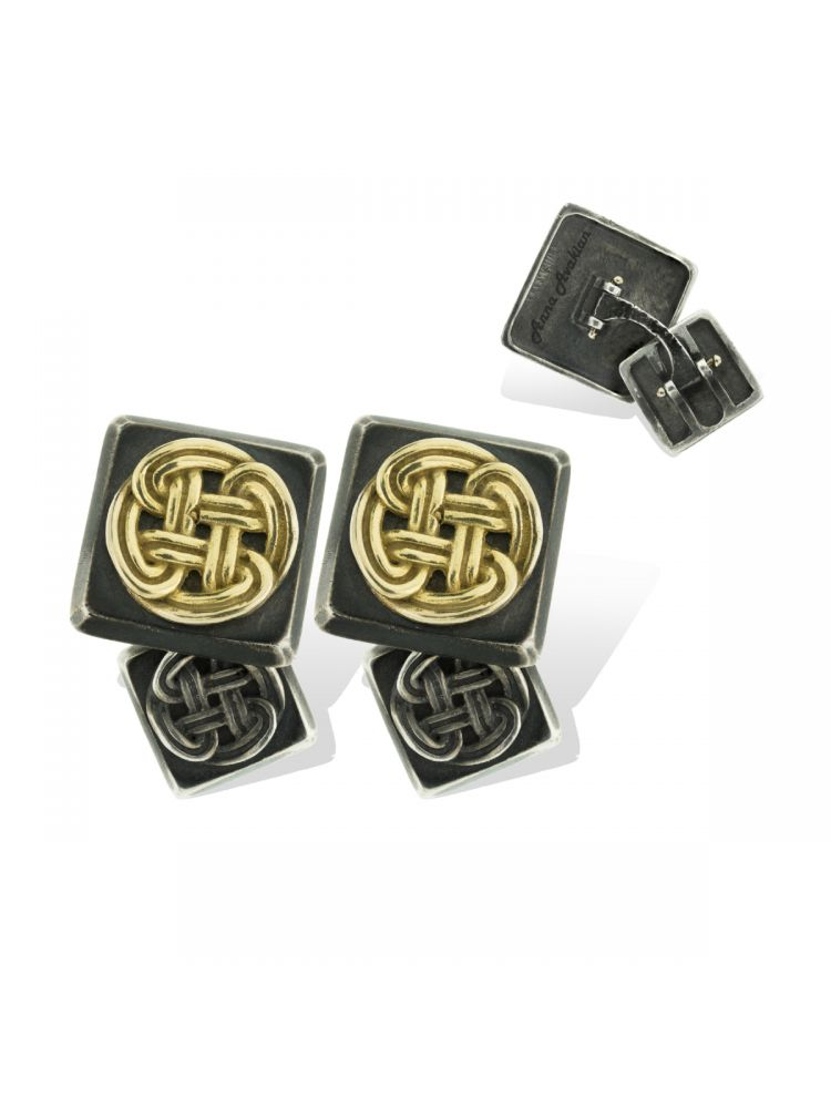 Anna Avakian silver and gold cufflinks