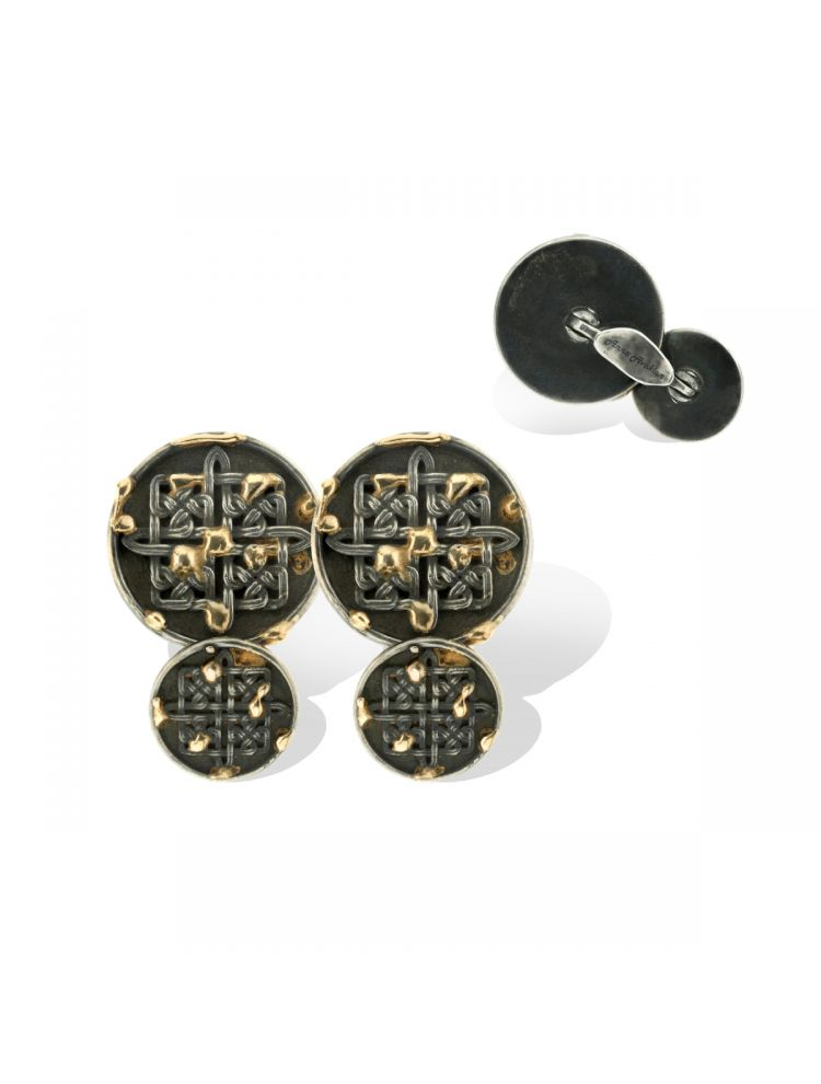 Anna Avakian silver and gold round-shape cufflinks