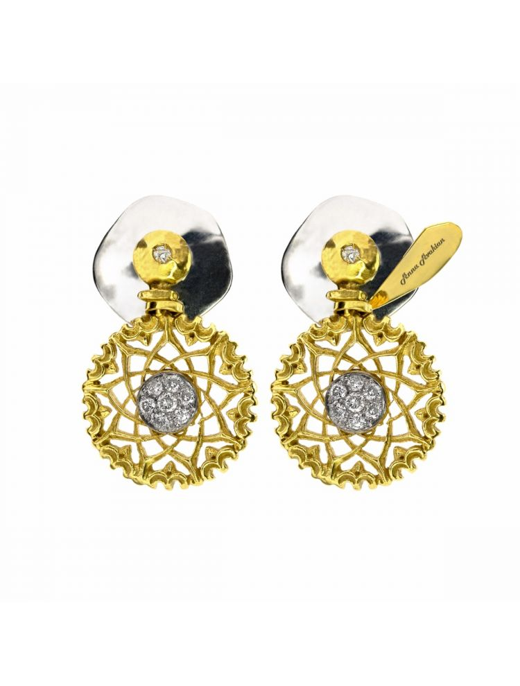 Anna Avakian yellow gold earrings with diamonds