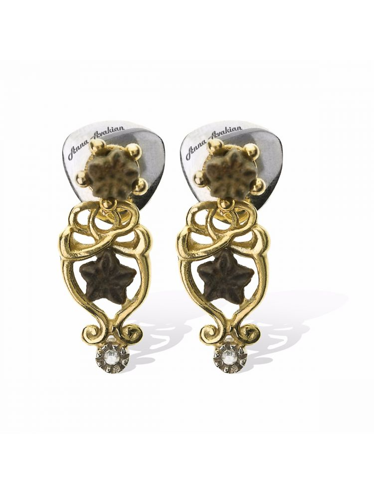 Anna Avakian yellow gold earrings with star stones