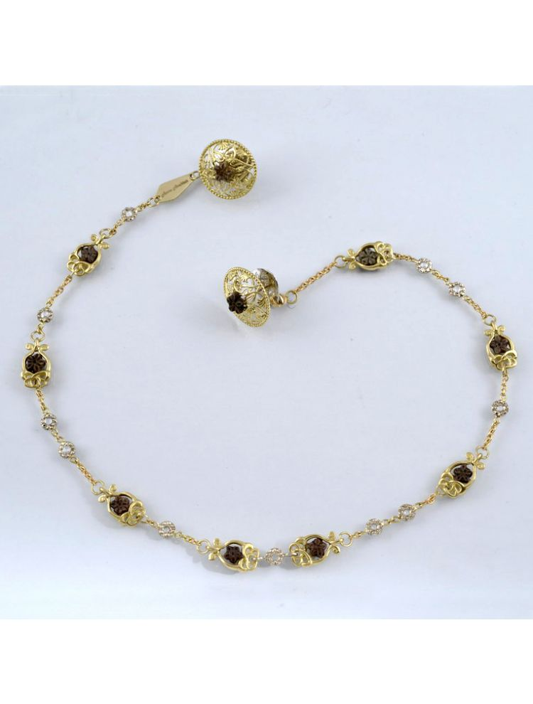 Anna Avakian gold necklace with star stones and diamonds
