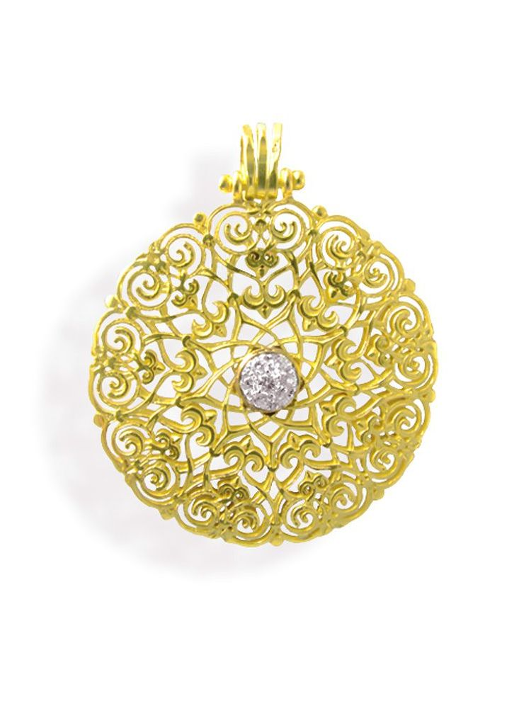 Anna Avakian yellow gold pendant with diamonds