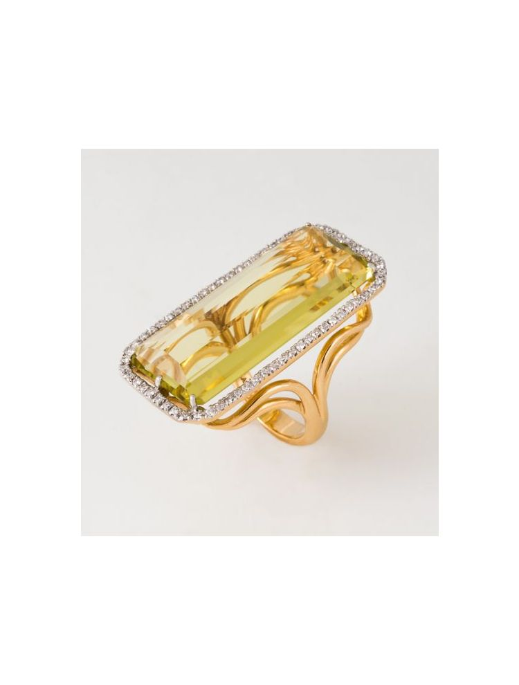 Casato Roma yellow gold ring with citrine and diamonds