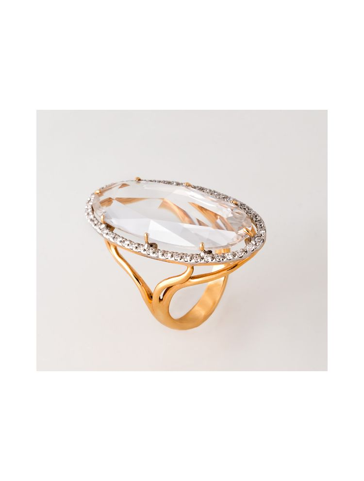Casato Roma yellow gold ring with crystal and diamonds