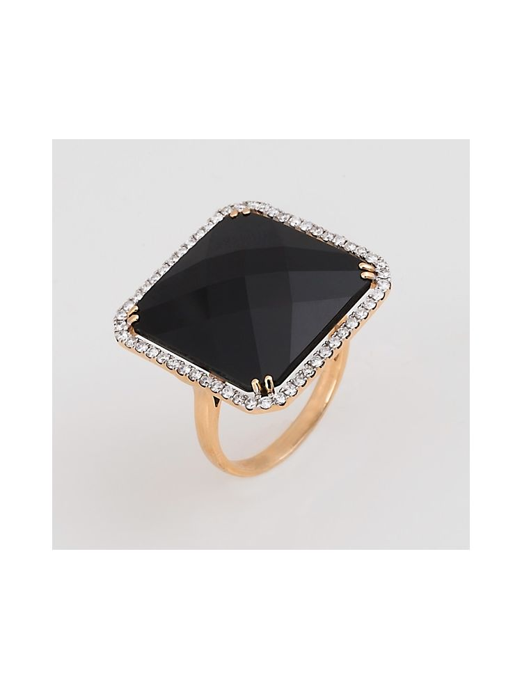 Casato Roma pink gold ring with black onyx and diamonds