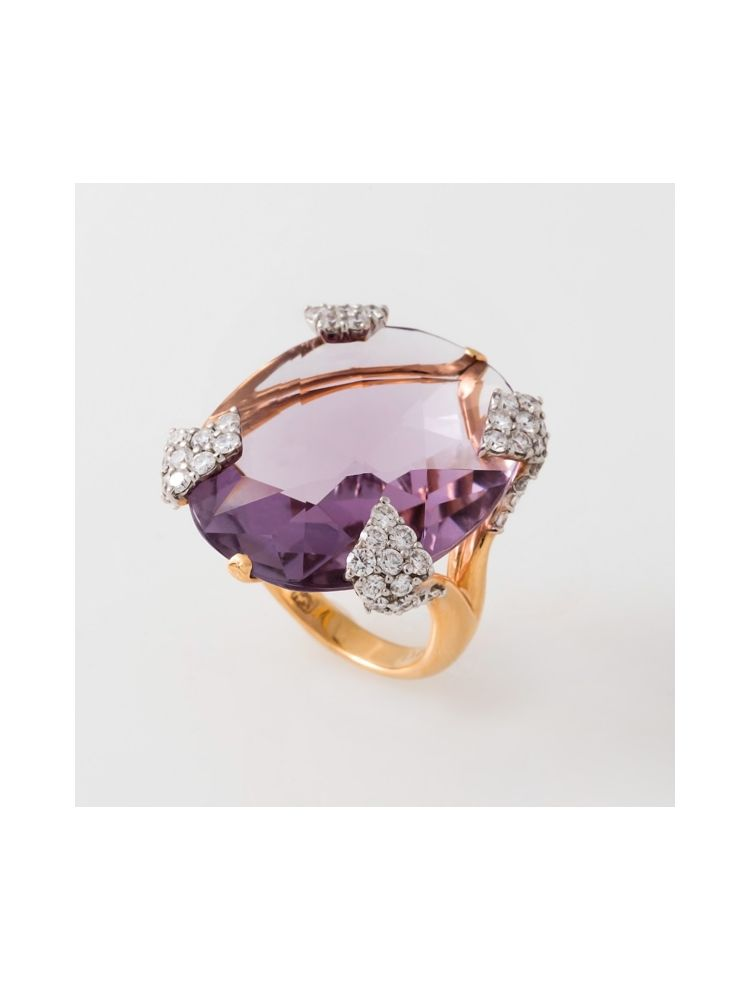 Casato Roma pink gold ring with amethyst and diamonds