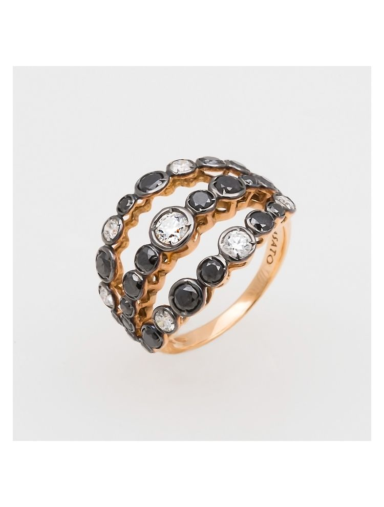 Casato Roma pink gold ring with white and black diamonds