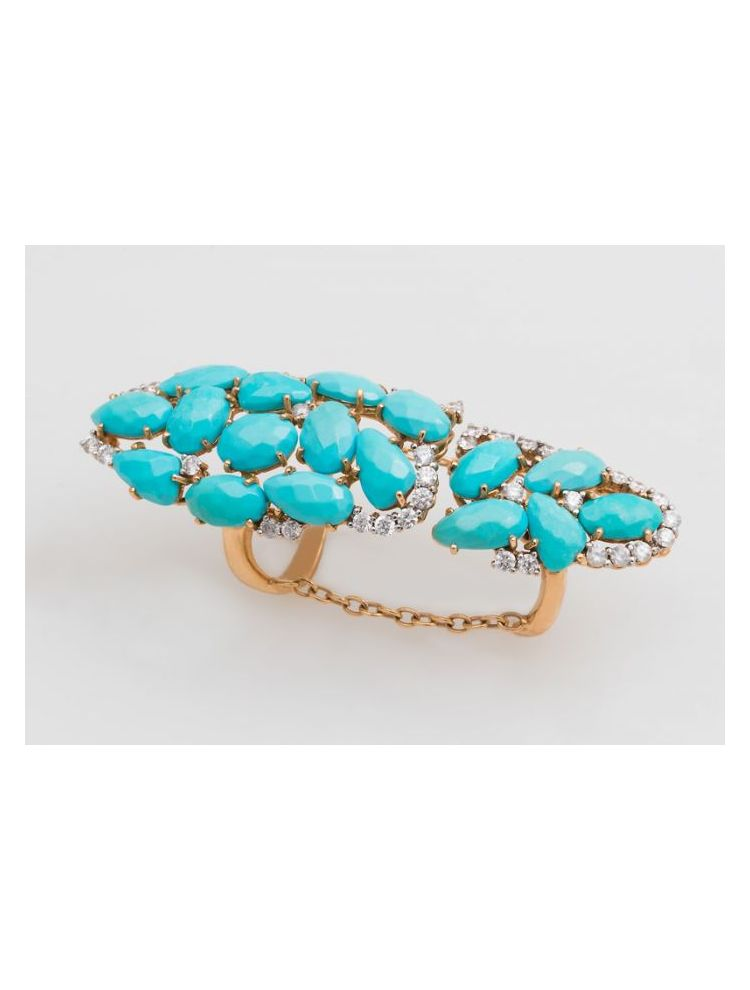 Casato Roma pink gold double ring with turquoise and diamonds
