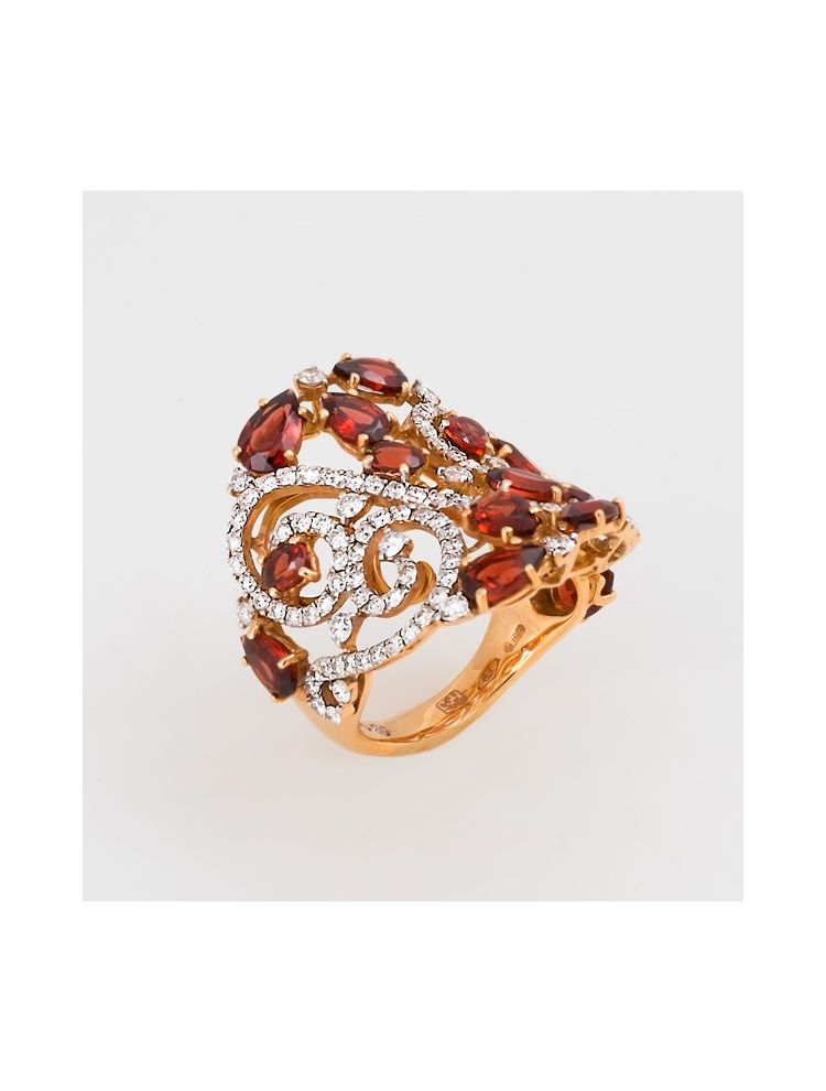 Casato Roma pink gold ring with garnet and diamonds