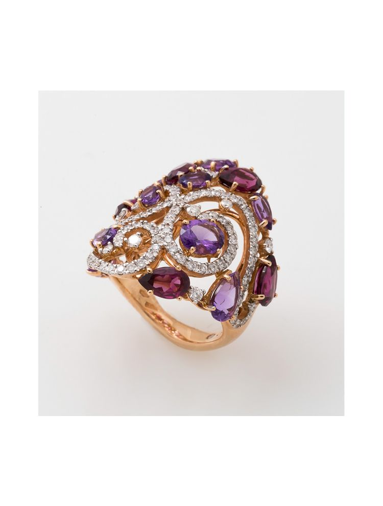 Casato Roma pink gold ring with amethyst rhodolite and diamonds