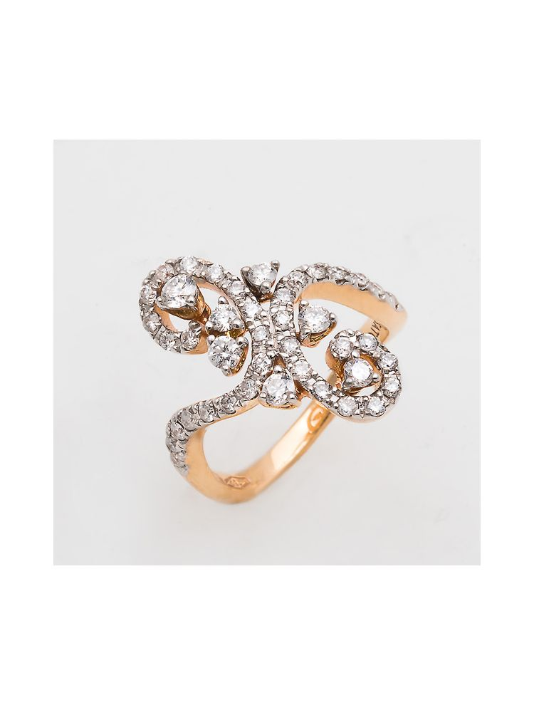 Casato Roma pink gold ring with diamonds