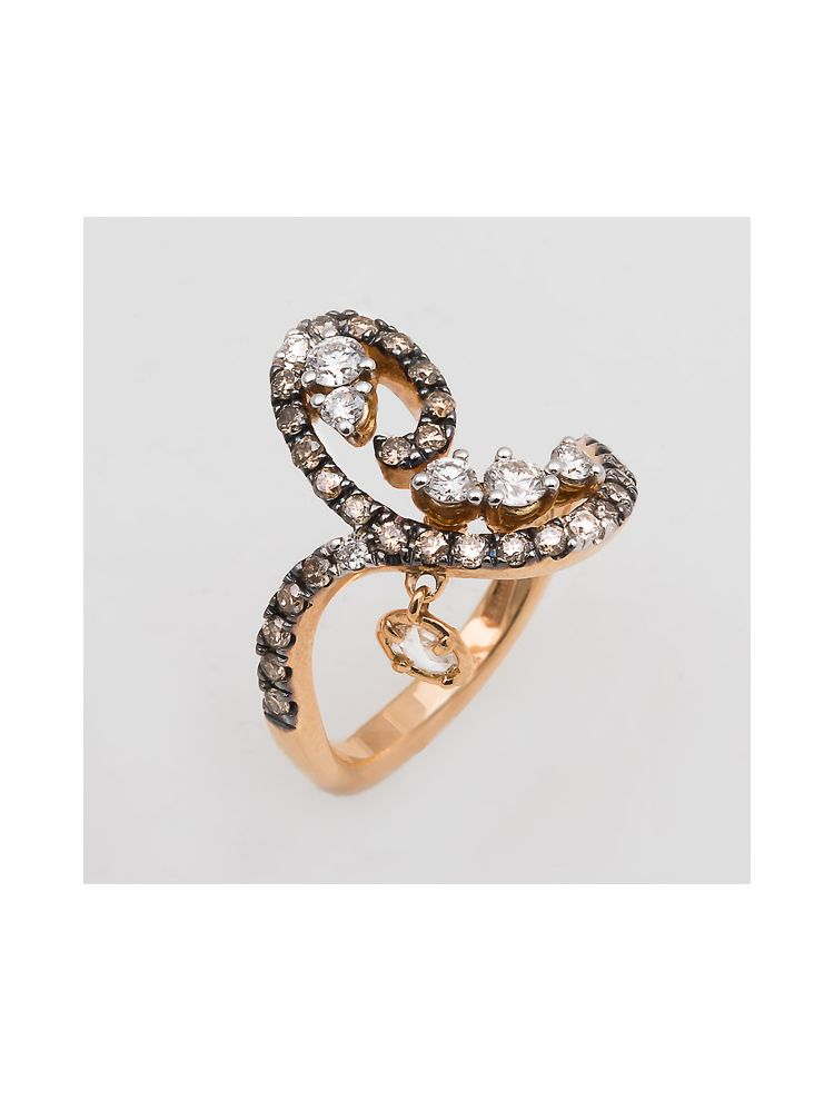 Casato Roma pink gold ring with white and brown diamond