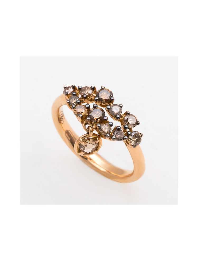 Casato Roma pink gold ring with brown diamonds