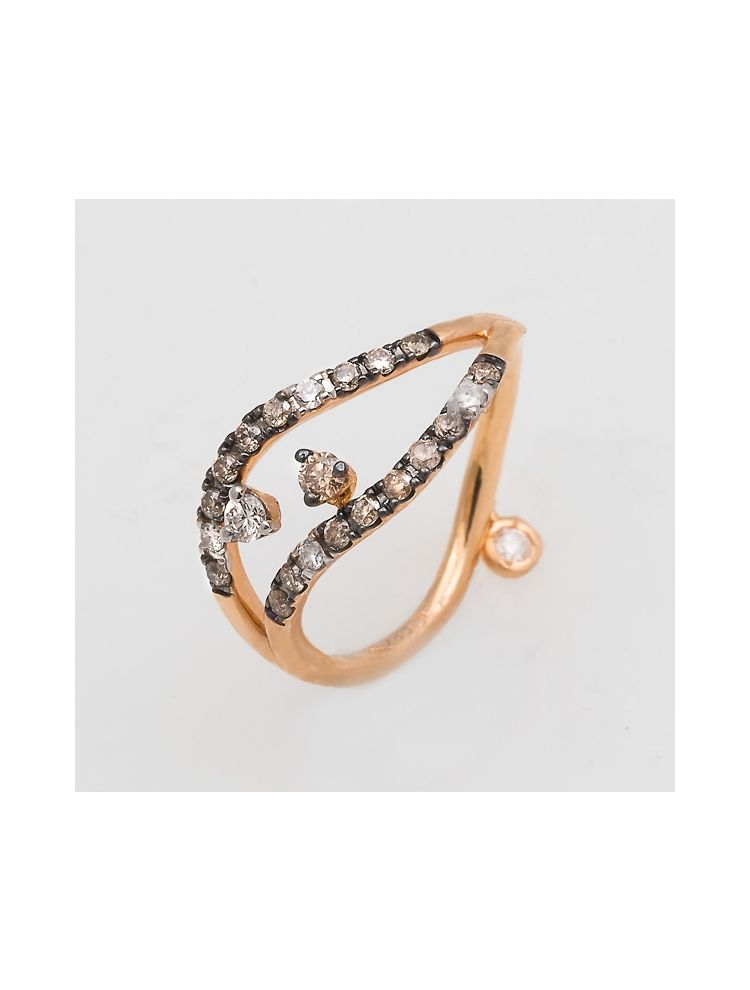 Casato Roma pink gold ring with white and brown diamonds