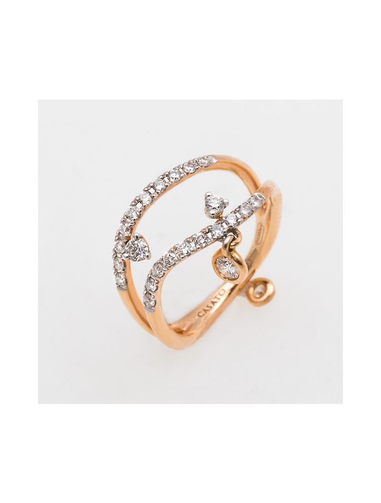 Casato Roma pink gold ring with white diamonds