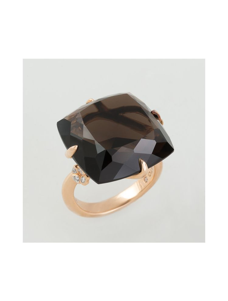 Casato Roma pink gold ring with smoky quartz and white diamonds