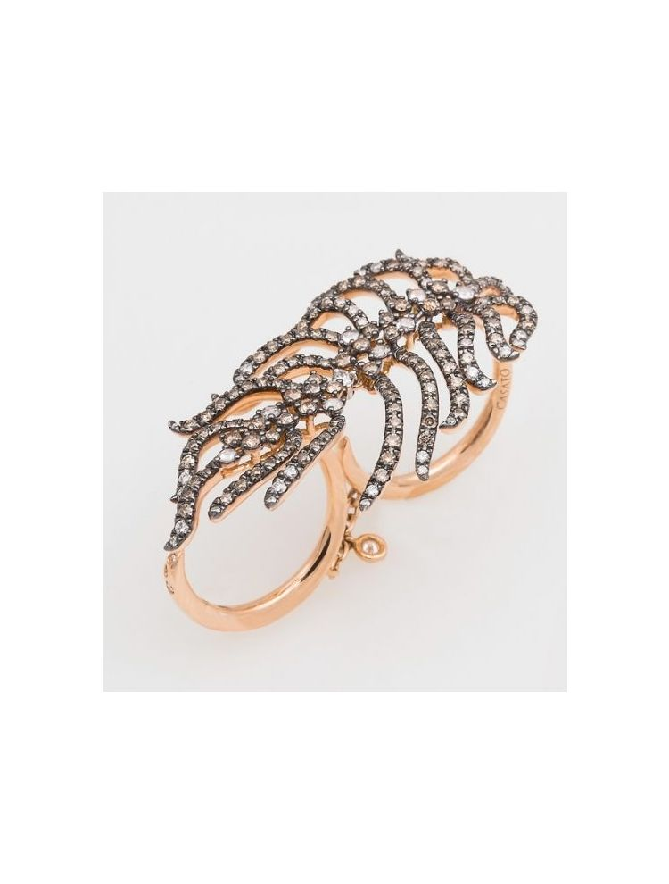 Casato Roma pink gold double ring with white and brown diamonds