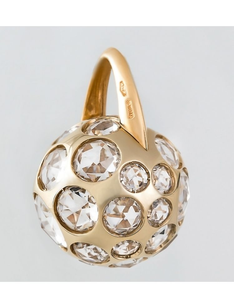 Pomellato yellow gold pendant with white crystal
