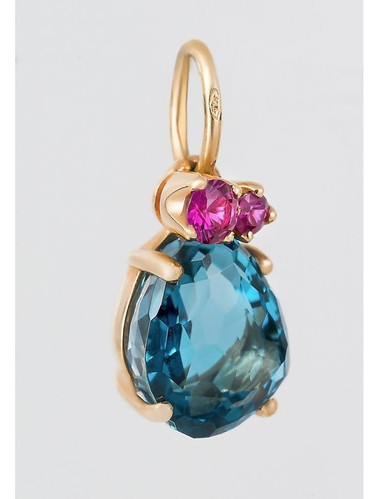 Pomellato pink gold pendant with topaz and ruby