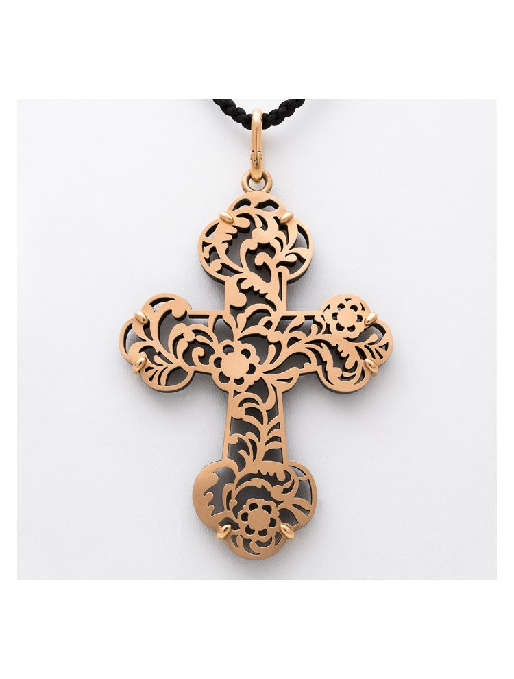 Pomellato pink gold cross pendant with jet and silk necklace