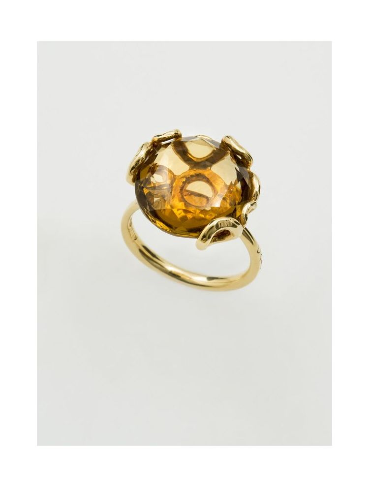 Calgaro gold ring with smoky topaz