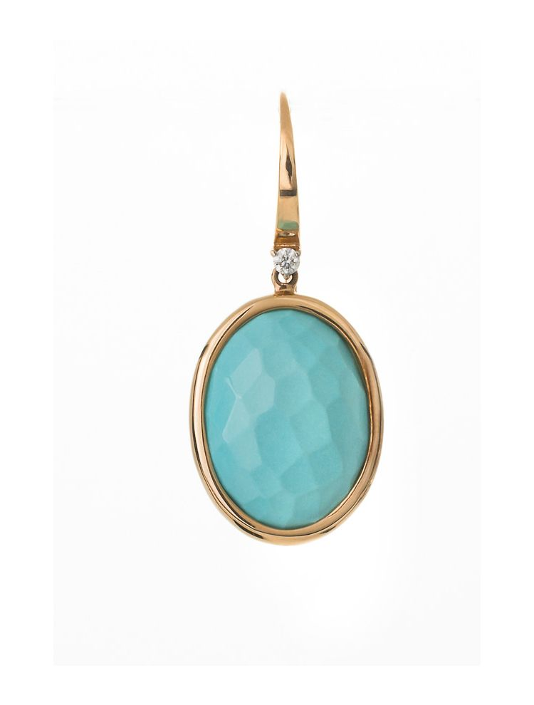 Casato Roma yellow gold earrings with diamonds and turquoise