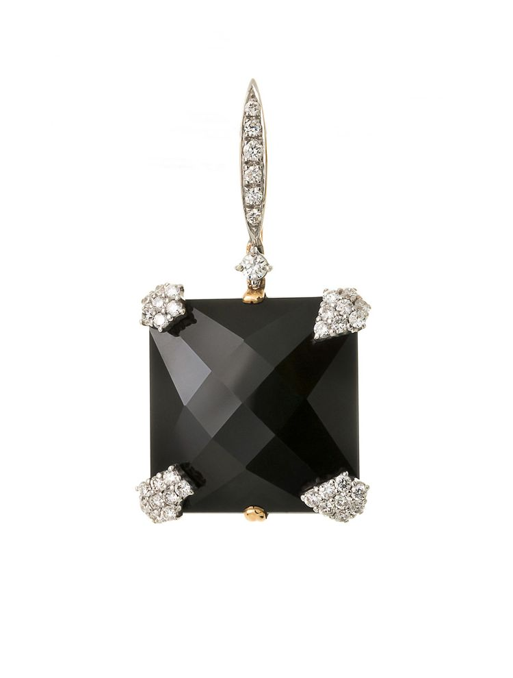 Casato Roma pink gold earrings with black onyx and diamonds