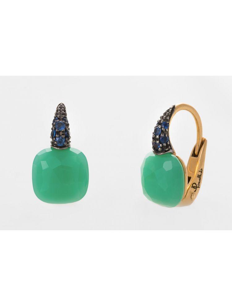 Pomellato gold earrings with chryzopraz