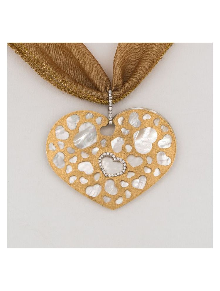 Nanis silk necklace with yellow gold diamonds and mother of pearl pendant
