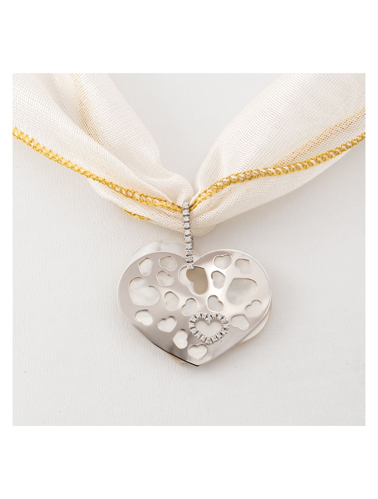 Nanis silk necklace with white gold, diamonds and mother of pearl pendant