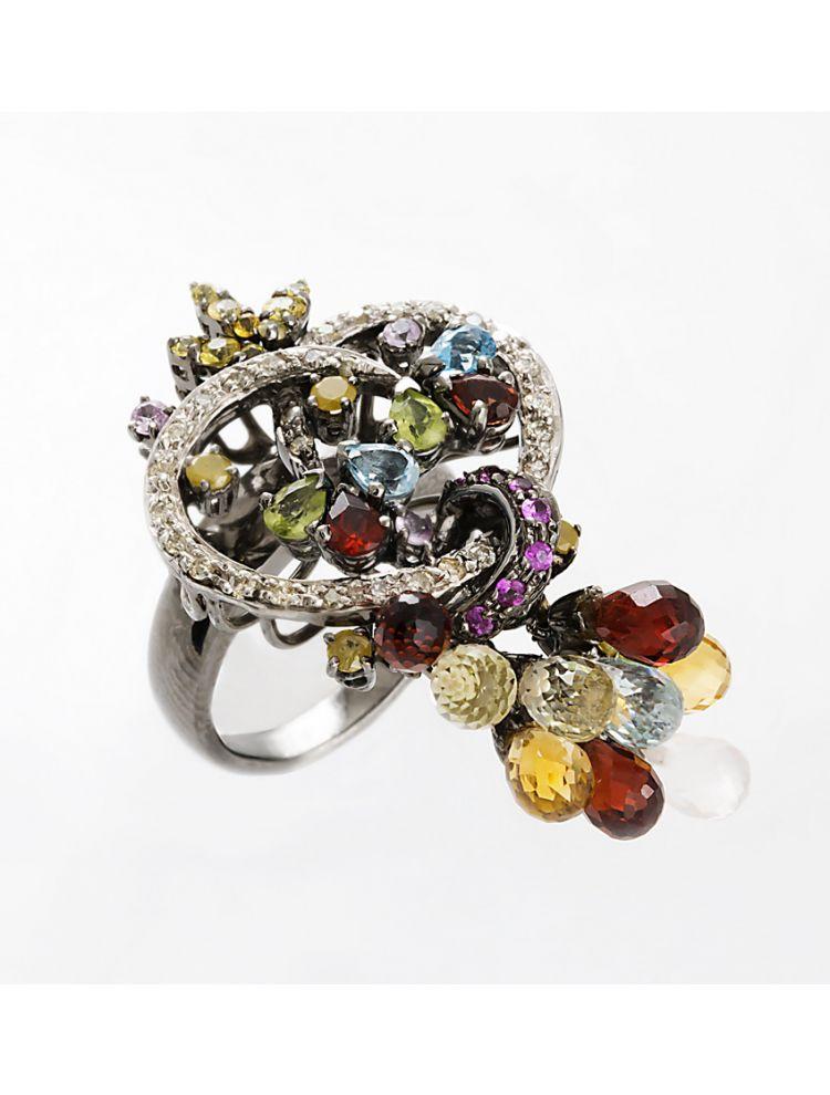 Yessayan black rhodium ring with sapphire, topaz and peridot